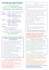 NEWSLETTER MON 9th MARCH 2020 SUN 15th MARCH 2020